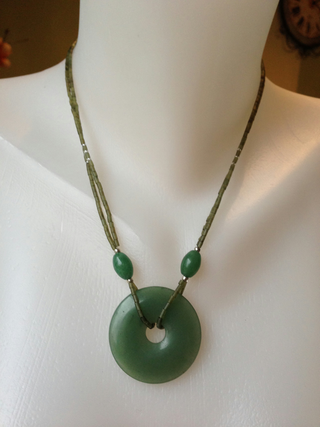 Jade doughnut pendant necklace