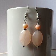 Gemstones earrings, Rose-quartz earring, Dangle earrings, Gift for her