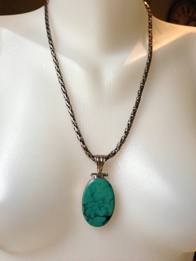 Sterling silver Pendant Necklace Turquoise Pendant