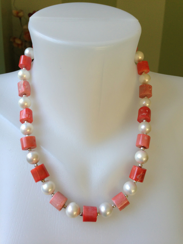 Salmon pink coral Statement necklace