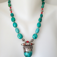 Tibetan turquoise pendant necklace,Statement necklace,Vintage Turquoise necklace