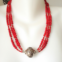 Sterling Silver ball coral necklace
