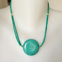 Coin turquoise bead, Coin Turquoise Necklace, Blue necklace,