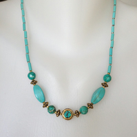 Turquoise brass necklace, Turquoise necklace, Ethnic necklace, Tibetan jewellery
