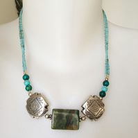 Ethnic jewellery, Boho necklace, Jasper turquoise necklace, Statement necklace