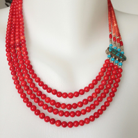 Layered Coral Neckless,   Statement necklace, Coral necklace ,Ethnic necklace