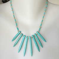 Turquoise  Necklace, Turquoise spike necklace,Blue necklace