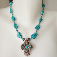 Tibetan Pendant,  Turquoise Necklace, Sterling silver Pendant