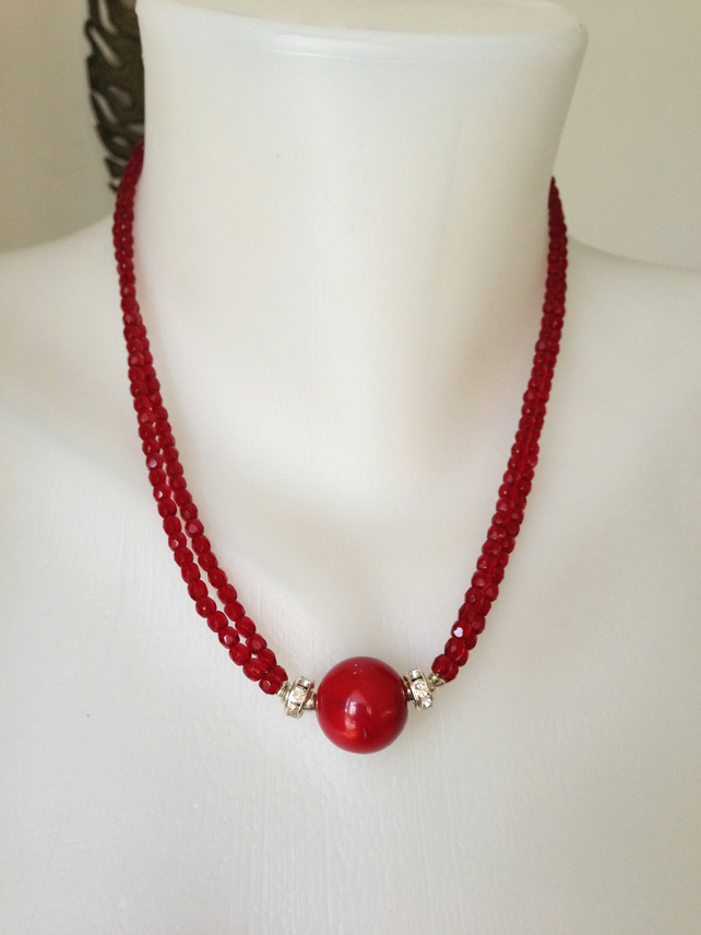 Coral necklace, Red necklace, Double line faceted beads necklace