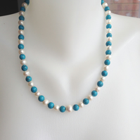 Pearl Necklace   Turquoise Necklace   Freshwater perl Necklace