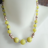 Jade necklace, Pink pearl necklace, Statement necklace, Beaded necklace,