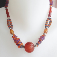 Carnelian Amethyst necklace