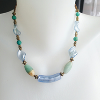 Foil glass  Agate Necklace
