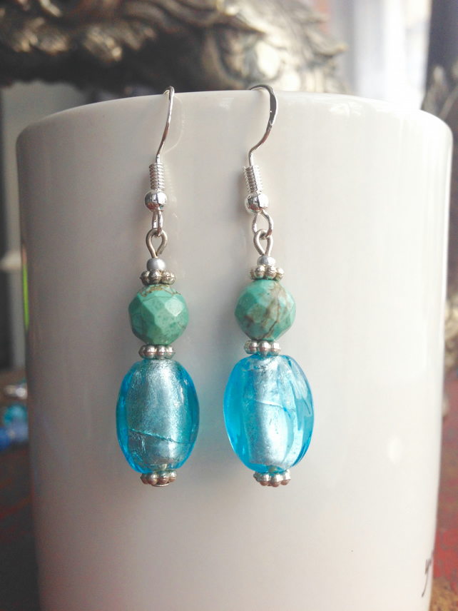 Dangle earring,Foil Glass earrings, Turquoise earrings, gift for her