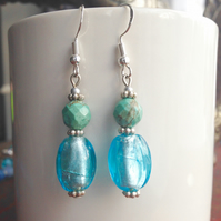Fused glass earrings, Blue earrings, Turquoise earrings, Dangly earrings
