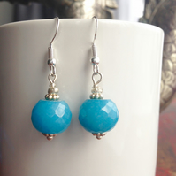Faceted Blue Jadeite earrings, Dangle earrings, Gift for mum, Gift for her