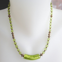 Foil glass necklace, Green necklace, Faceted glass necklace,