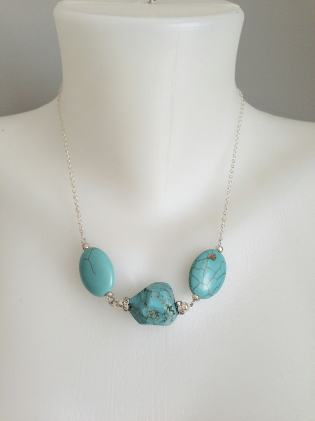 Turquoise necklace, Chain turquoise Necklace, Gift for her,Gift for mum,