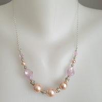 Shell pearl necklace, Baby pink pearl necklace, pearls on chain, Gift fro her