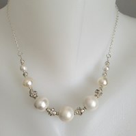 Pearls on chain, Shell pearl necklace, Pearl necklace,Gift for her