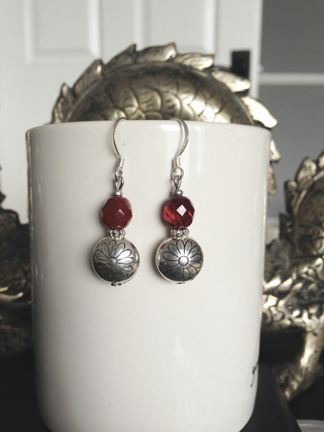 Red silver earring
