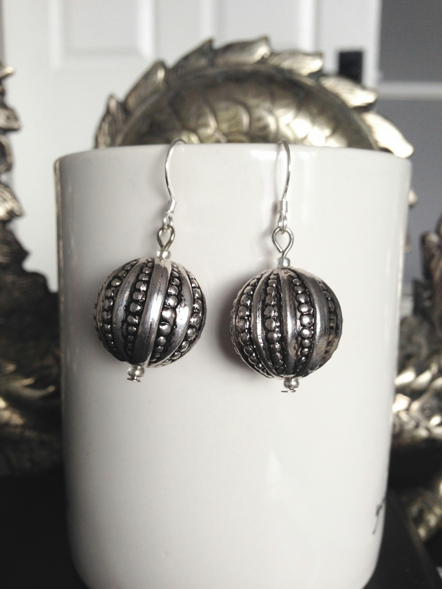 lucite silver ball earrings
