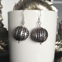 Silver earrings, Dangle earrings, lucite silver ball earrings
