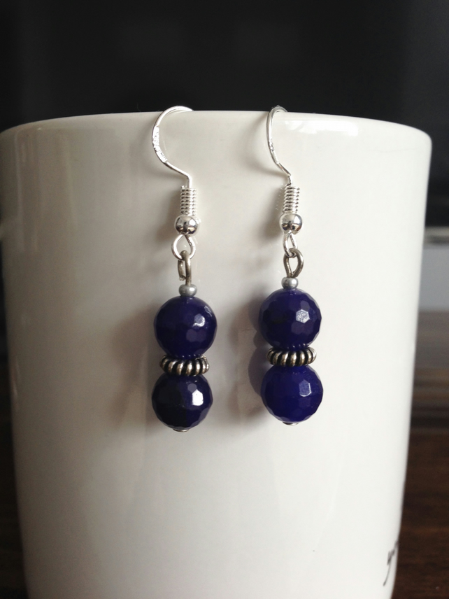 Faceted dark blue bead earrings