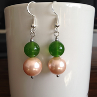 Shell pearl and jade earrings