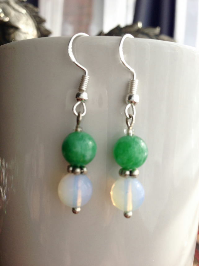 Jade opal earrings