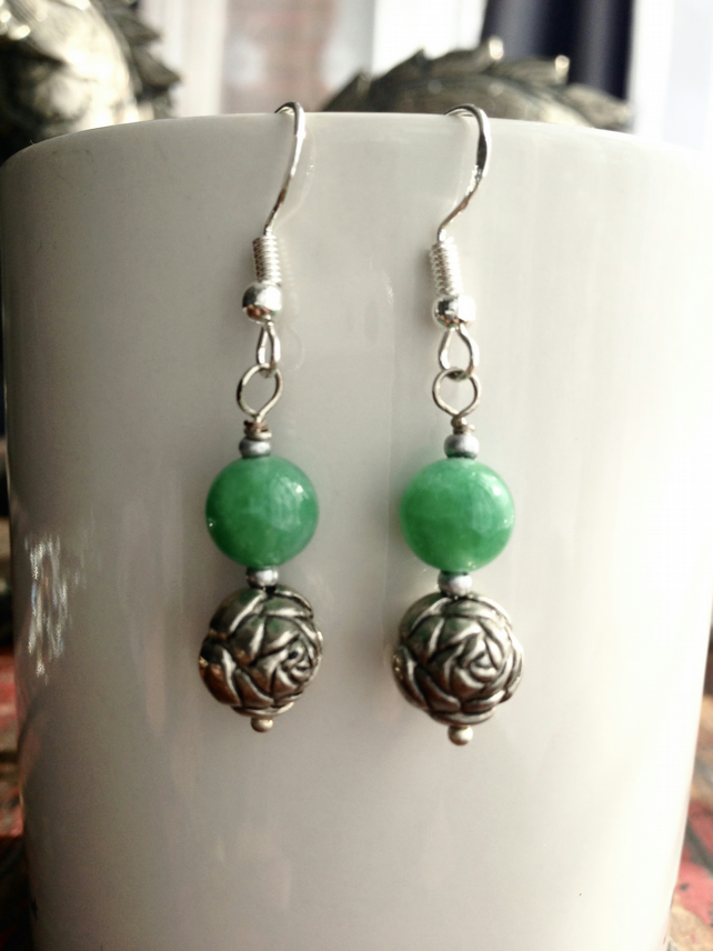 Rose jade earrings