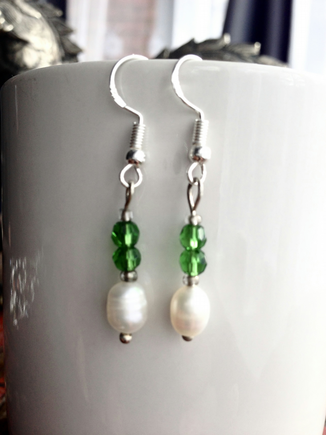 Pearl green glass earrings