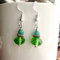 Glass jade earrings