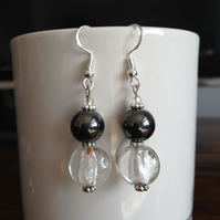 Hematite foil glass earrings