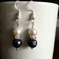 Black and white pearl earrings