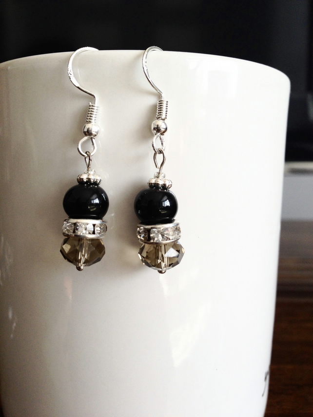 Gemstones earring, Onyx earrings, Dangle earring, Black earrings, Gift for her
