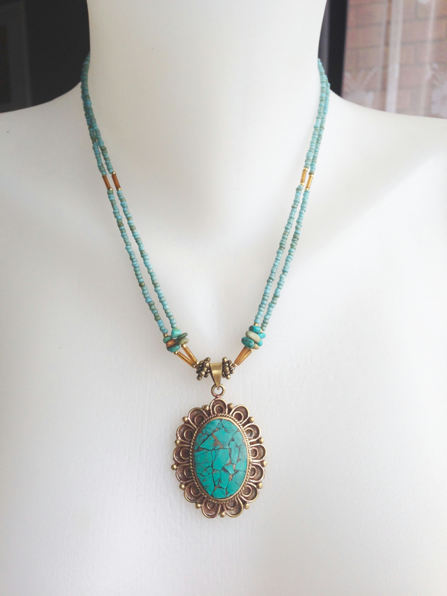 Turquoise Necklace, Pendant necklace, Turquoise pendant, Ethnic necklace