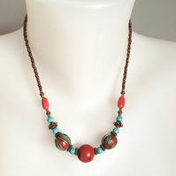 Coral Necklace   Tibetan Necklace   Brass Necklace  Ethnic jewellery