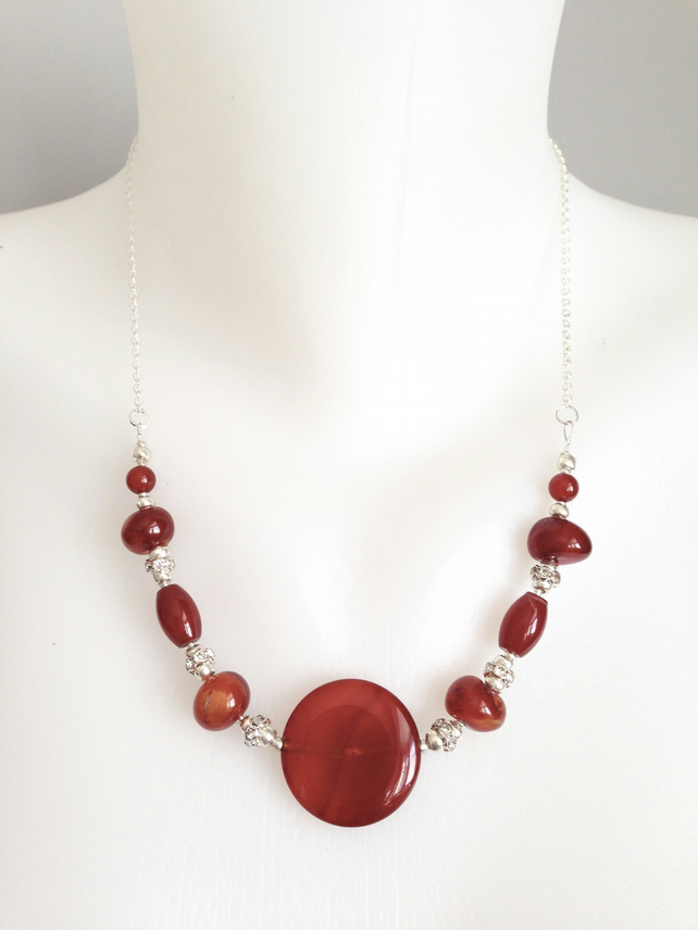 Coin Carnelian Necklace