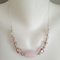 Rose-quartz necklace  Pink necklace