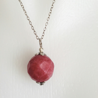 Sterling silver pendant necklace  Ruby pendant