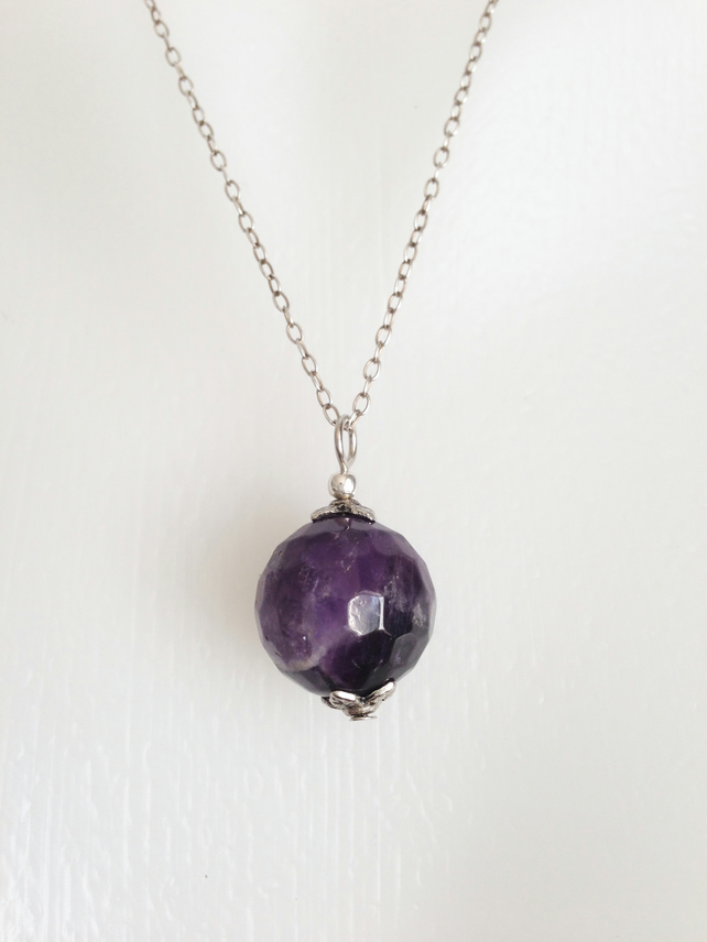 Sterling silver Pendant Necklace  Amethyst necklace