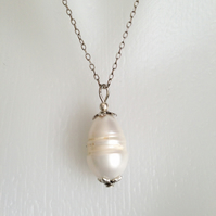 Sterling silver chain necklace  Pearl necklace