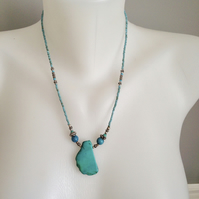Turquoise  Necklace,  Pendant Necklace,  Ethnic Necklace, Blue necklace,