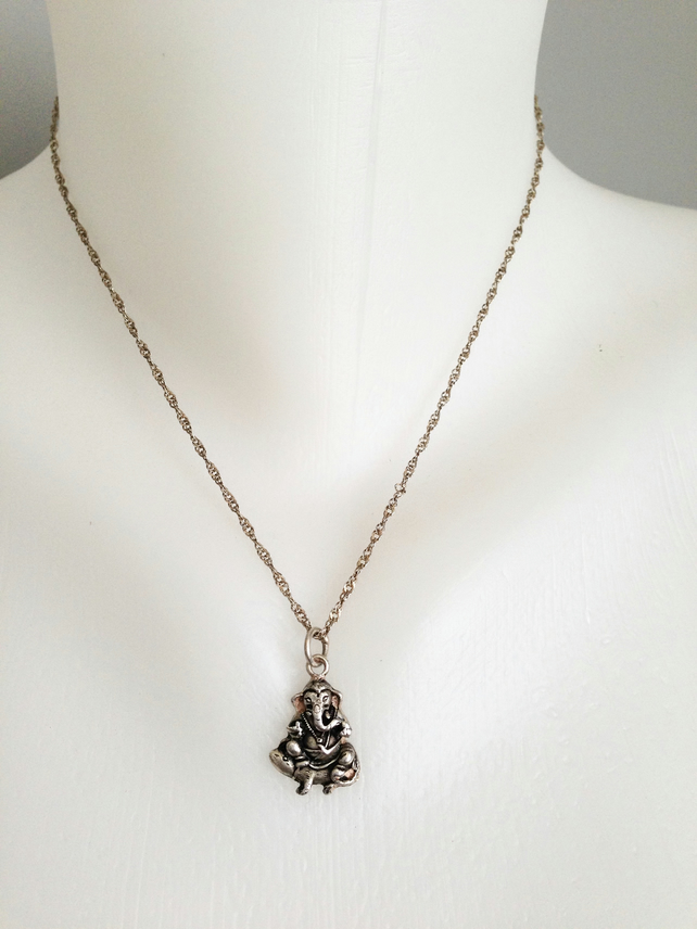 Sterling silver chain necklace  Ganesha pendant necklace