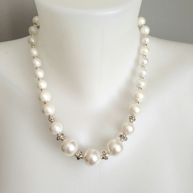 Shell pearl necklace  Statement necklace   Brilliant white necklace