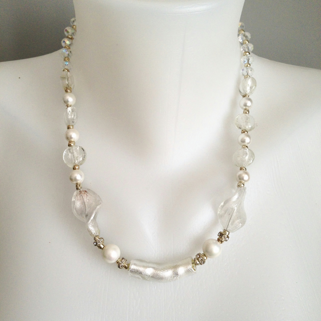 Foil glass necklace  White necklace  Shell pearl necklace  Sparkly necklace