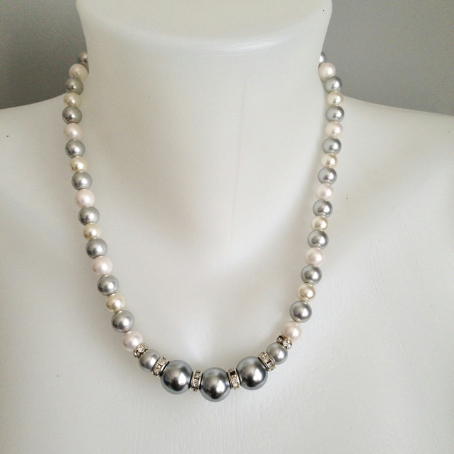 Grey and white shell pearl necklace  Statement necklace