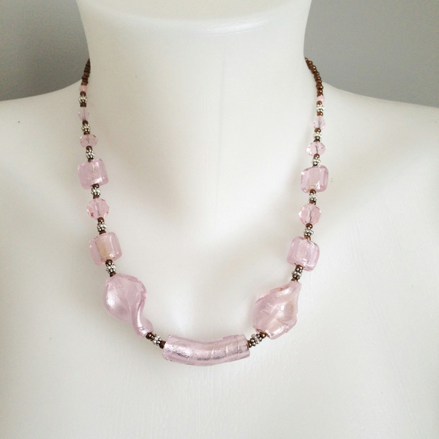 Foiled glass necklace, Pink necklace, Beaded necklace,  Foiled glass beads