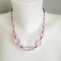 Foil glass necklace  Pink necklace